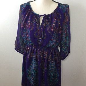 Nicole Miller Purple paisley chiffon dress 14